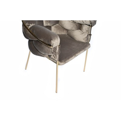Chair with golden metal structure, fully upholstered in beige velvet - BALONLU