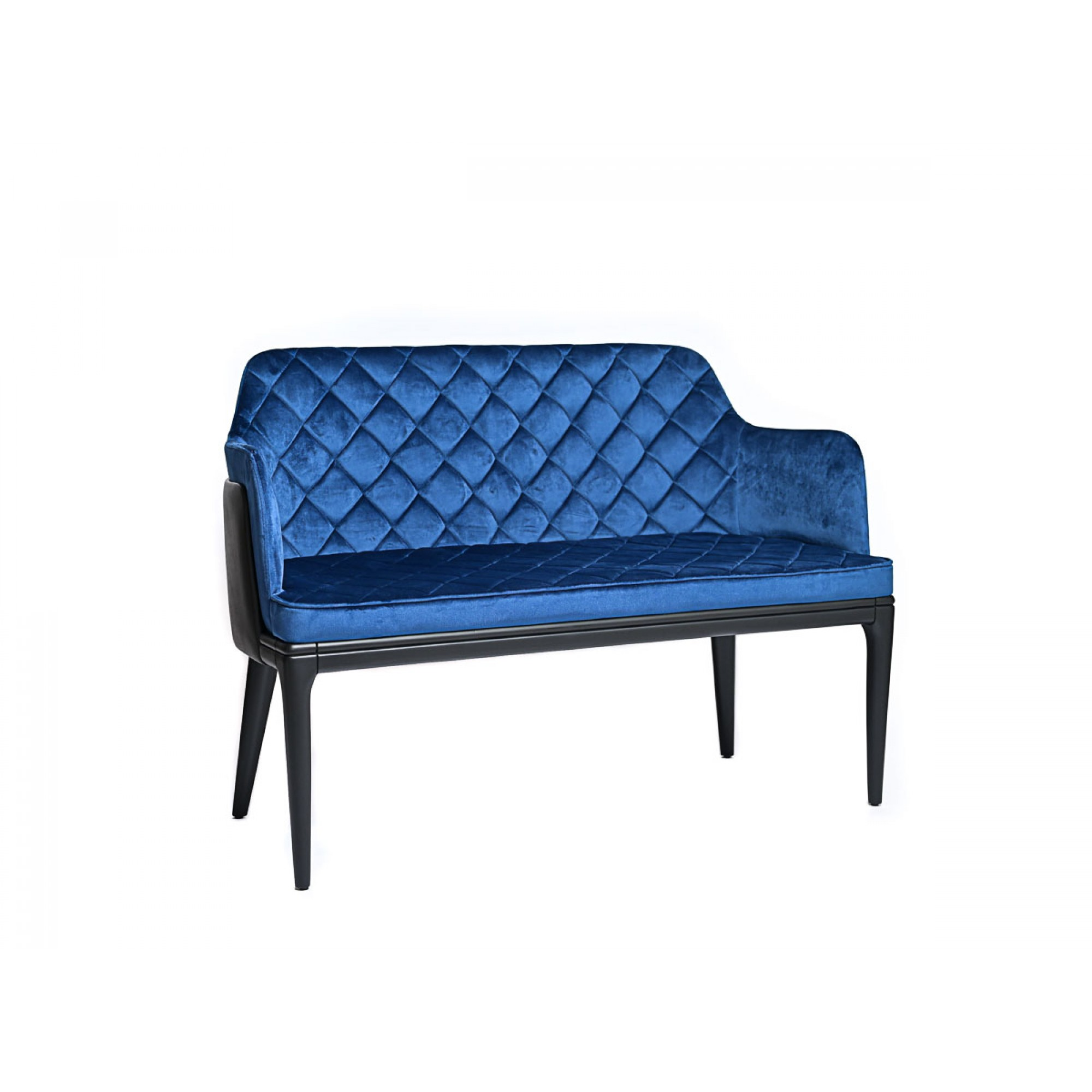 Bench - sofa with black wood legs, fully upholstered in royal blue velvet and black eco-leather - DOUBLE BENTLEY