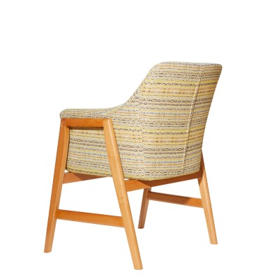 Armchair with wooden legs, upholstered - GERMAN