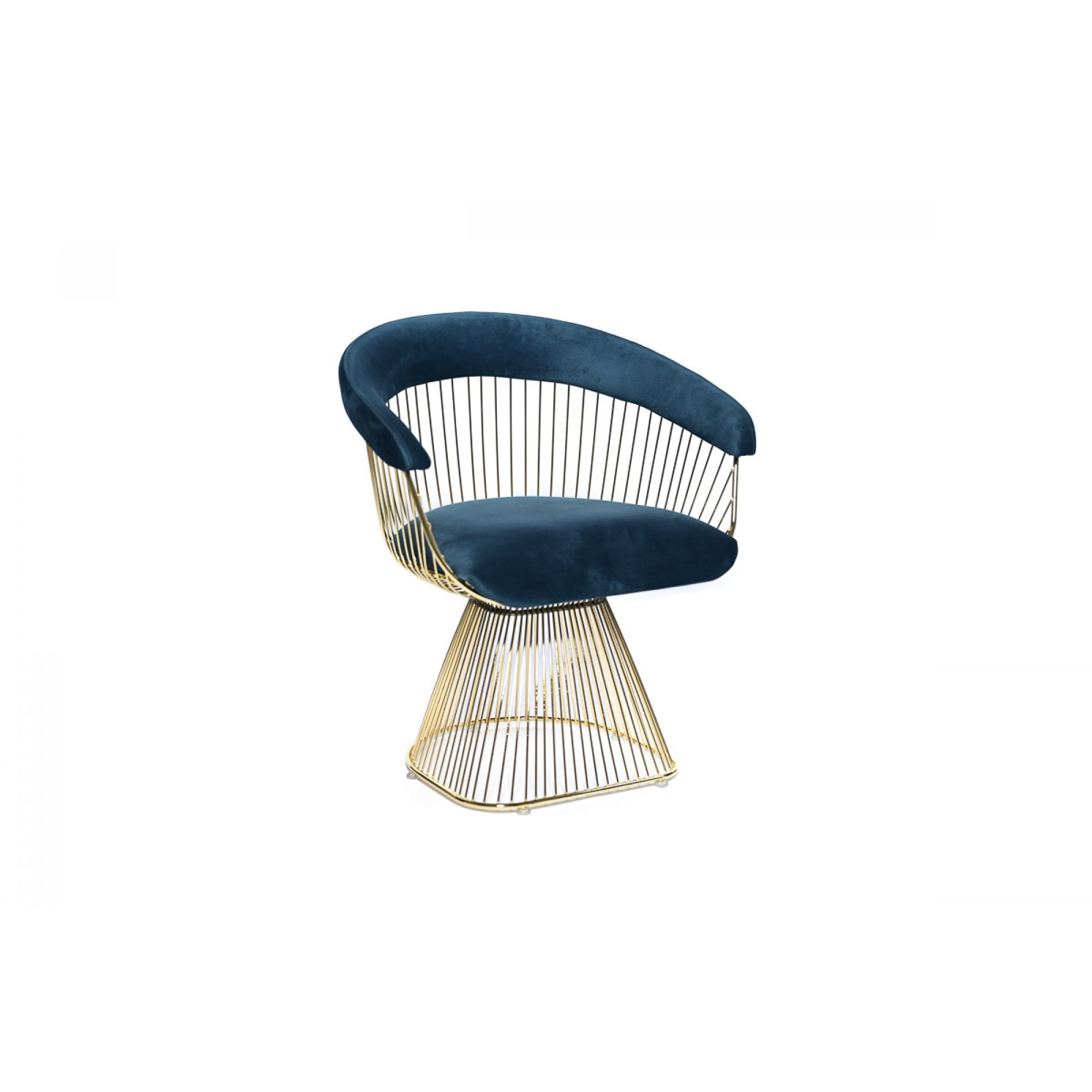 Chair with golden metal structure, fully upholstered in velvet - KUPA