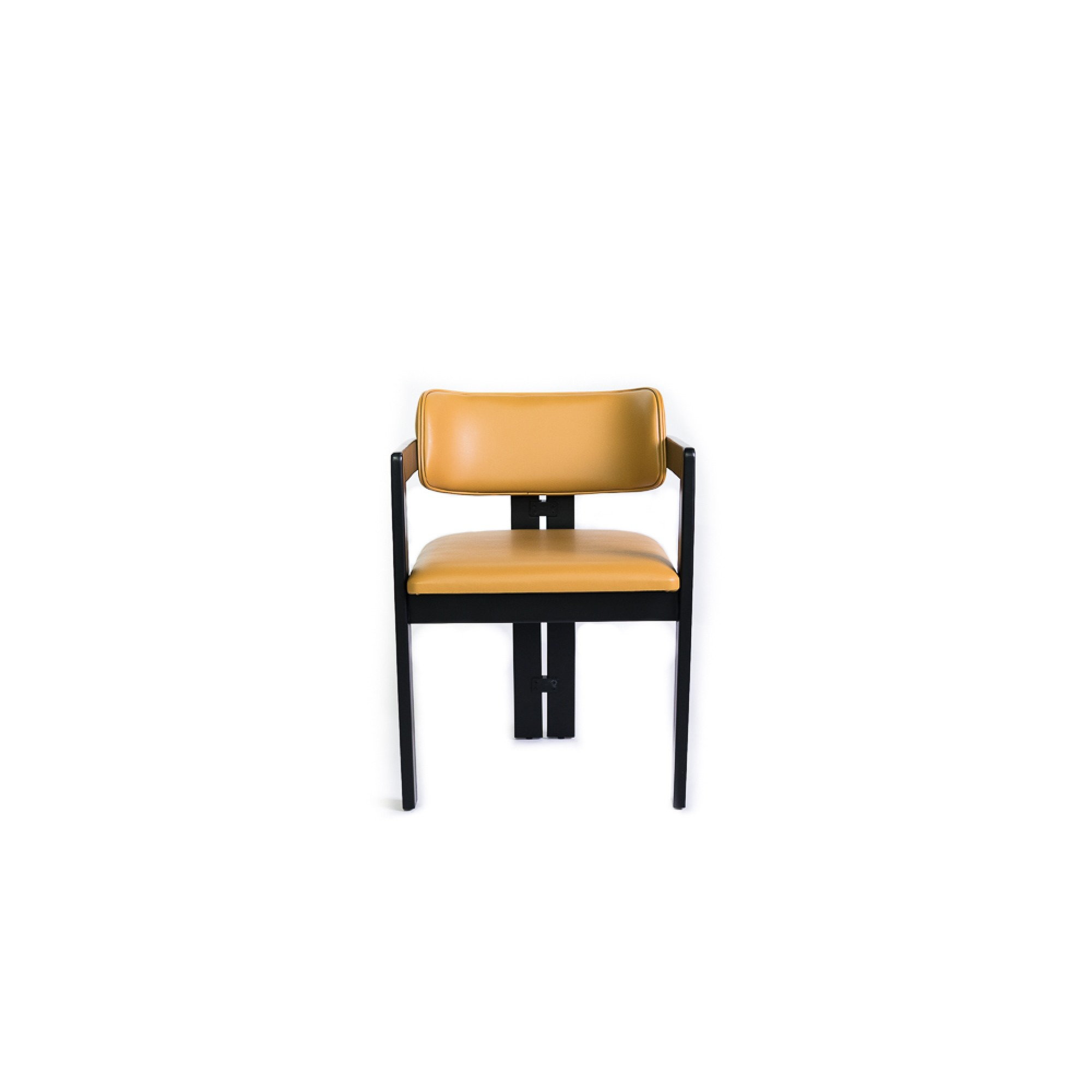 Chair with wooden legs and handles, upholstered in eco-leather, mustard yellow - MARY