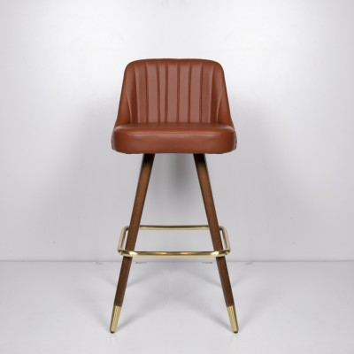 Bar chair with walnut legs and gold details, upholstered in eco-leather, brown - MEDUSA BAR