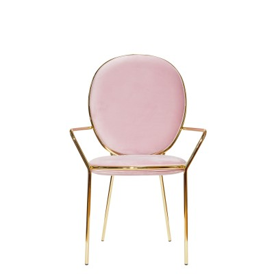 Chair with gold metal structure, upholstered in velvet - RAMSES