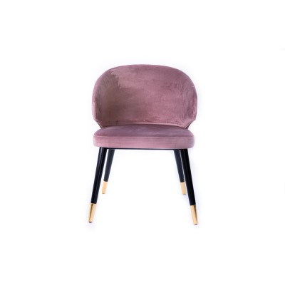 Dining chair with wooden legs, black and gold details, fully upholstered in pink velvet - SIGMA