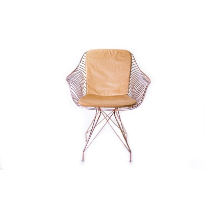 Chair with metal structure and velvet upholstered pillow - COBRA