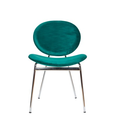 Chair with chrome metal structure, upholstered in velvet - SELFIRON