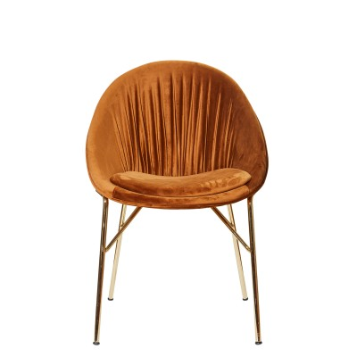 Chair with metal structure, fully upholstered in velvet - TURA