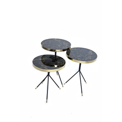 Table with metal structure, marble top and golden tips - S - Zigon