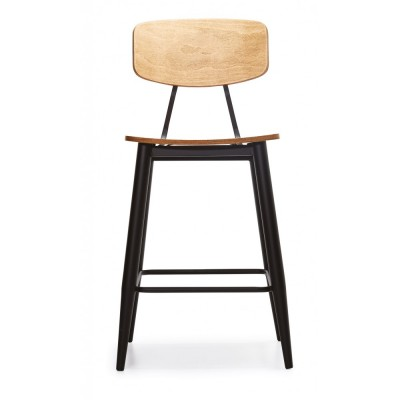 Bar chair with metal structure and wooden details - TESA BAR