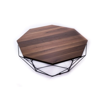 Coffee table with metal structure and solid walnut wood top - OCTAGON