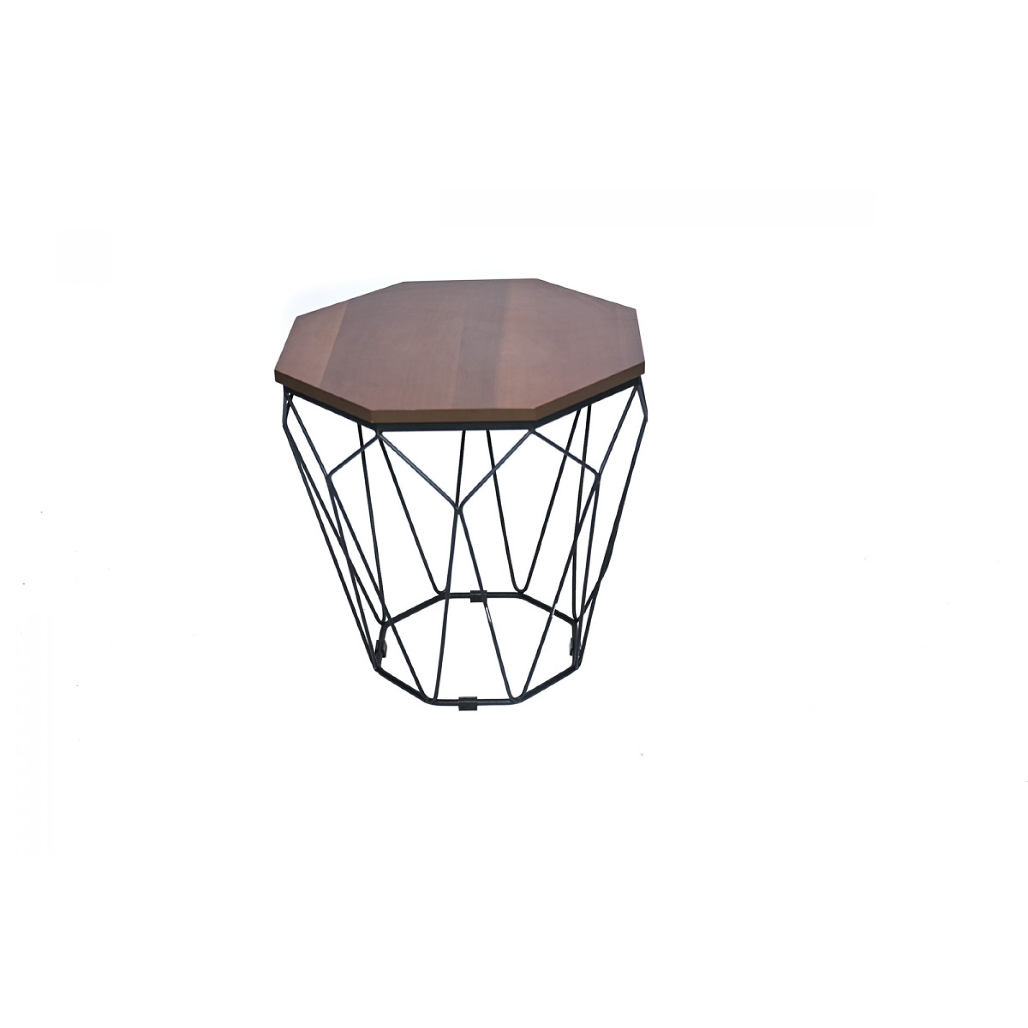 Coffee table with metal frame and solid walnut countertop - OCTAGON YAN