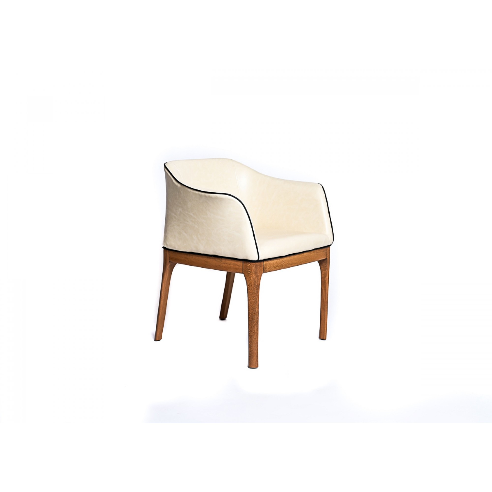 Chair with wooden legs, fully upholstered in ecological leather - UNO