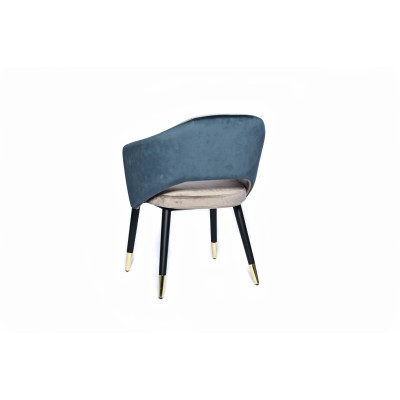 Dining chair with wooden legs, black and gold details, upholstered in petrol blue and gray velvet - ZEBRA