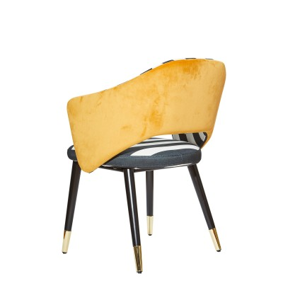 Dining chair with wooden legs, black and gold details, upholstered in fabric and velvet - ZEBRA