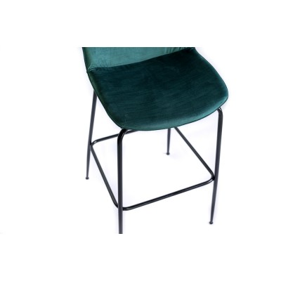 Bar chair with black metal structure, fully upholstered in velvet - GAMA BAR