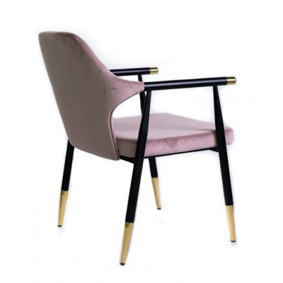 Chair with black metal legs and handles with gold details, upholstered in lilac velvet - GLOBUS