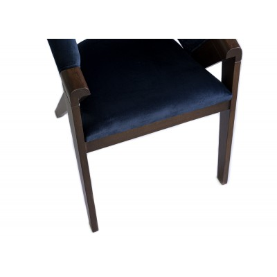 Chair with walnut legs and handles, upholstered in navy velvet - QATAR