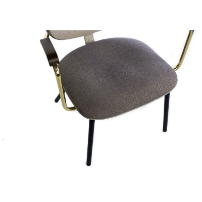 Chair with metal structure and handles, with gold details, upholstered in 2 colors, gray and beige - ROXA