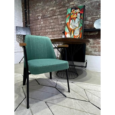 Chair with black metal frame with solid wood details, fully upholstered - SIGMA ART