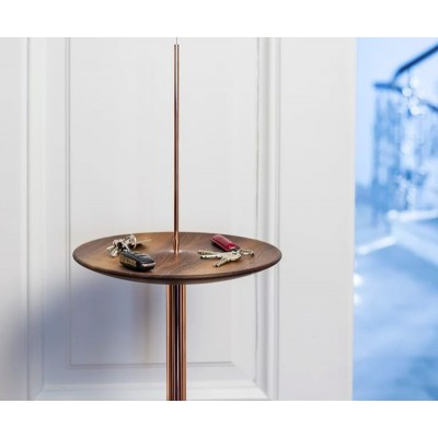 Circulum decorative table, suspended from the ceiling, Walnut and Copper Accesories