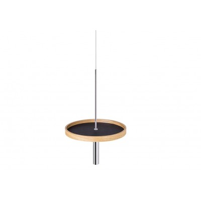 Circulum decorative table, suspended from the ceiling, Oak, Black Leather and Black Accesories