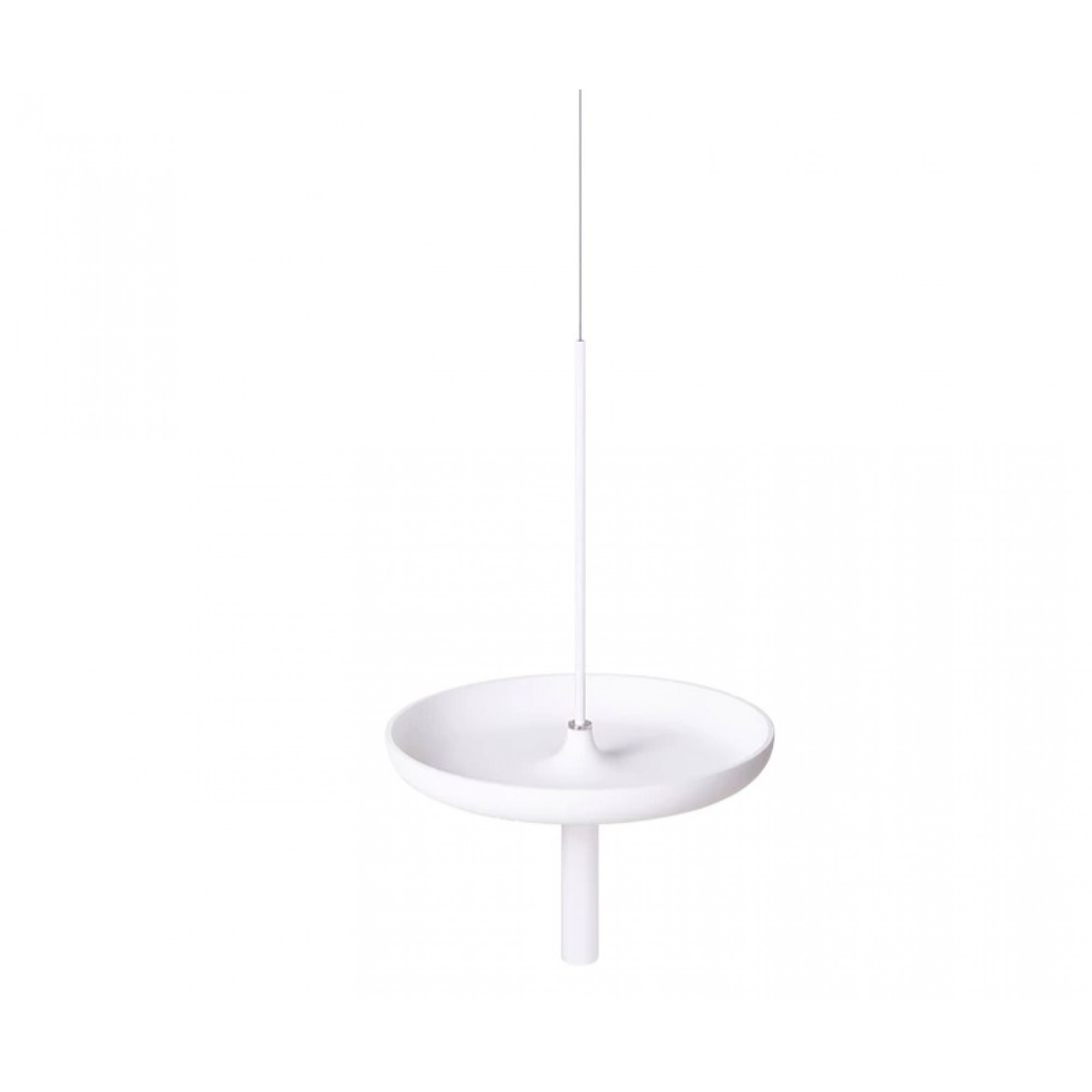 Circulum decorative table, suspended from the ceiling with bowl type tray, White ABS and white accessories