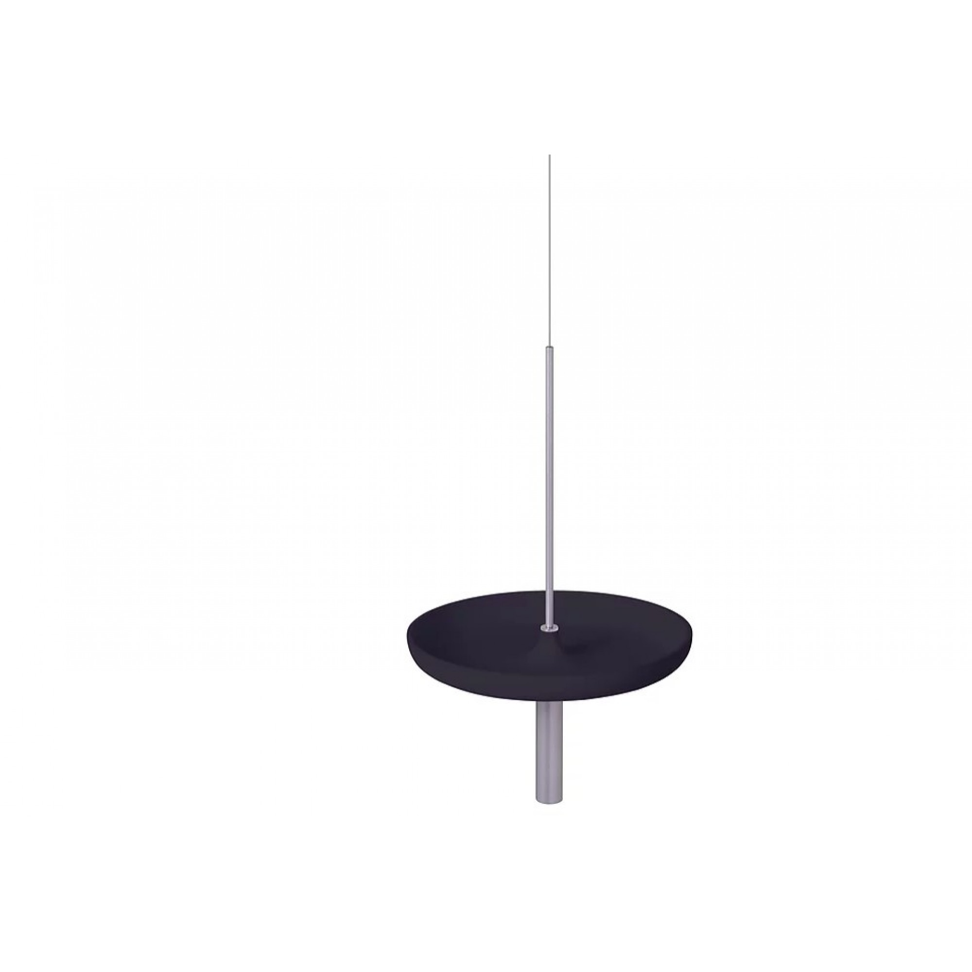 Circulum decorative table, suspended from the ceiling with bowl type tray, Black ABS and Chrom accessories