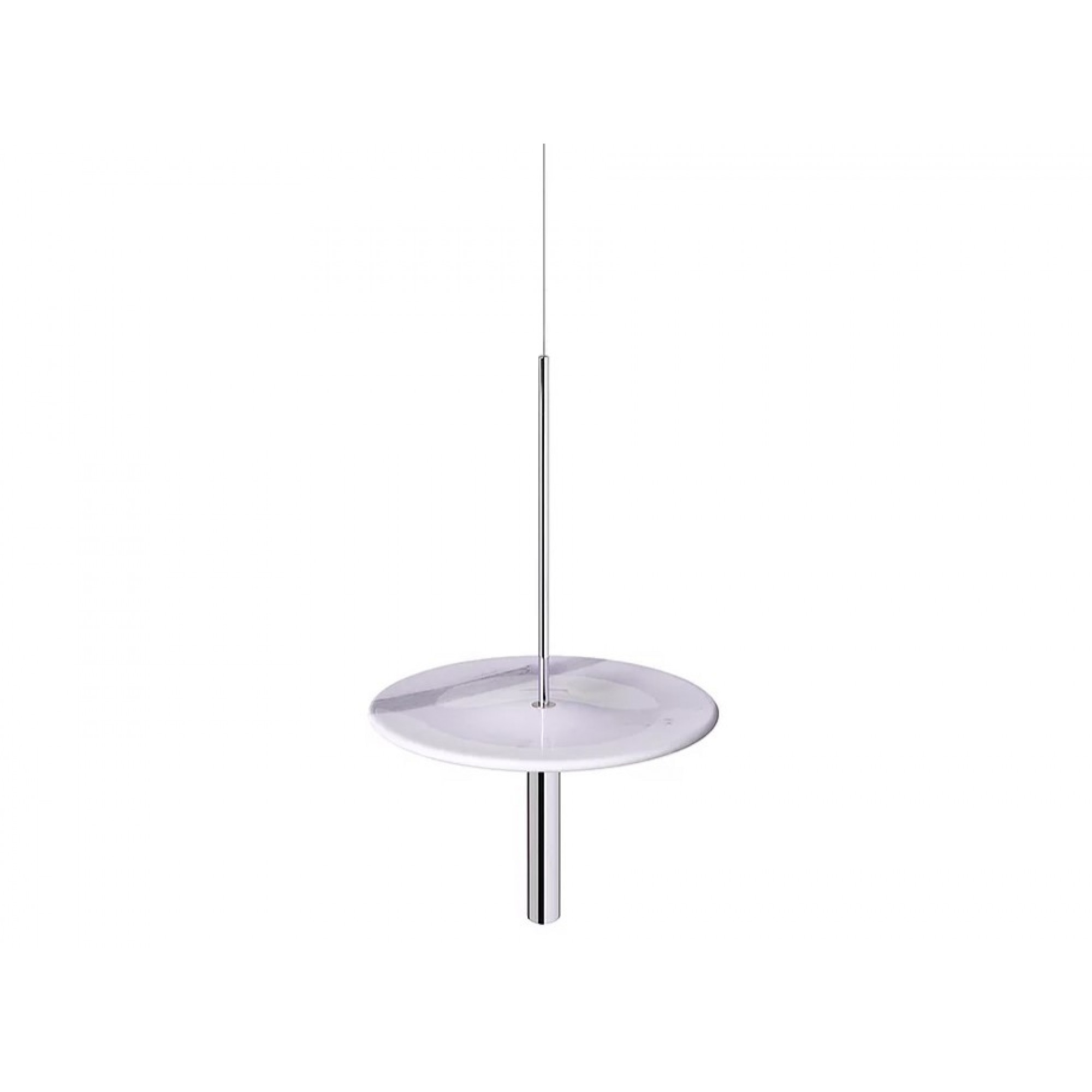 Circulum decorative table, suspended from the ceiling, White Marble and Chrom accessories