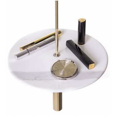 Circulum decorative table, suspended from the ceiling, White Marble and Gold accessories