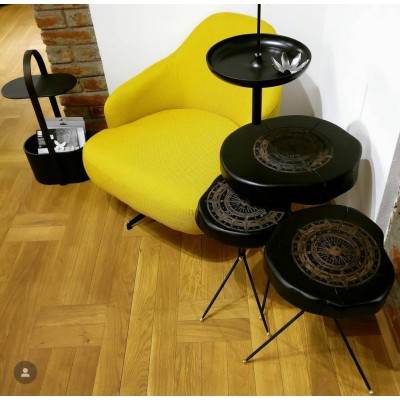 Armchair with metal structure, rotating - LAPIS BERGER