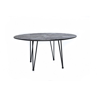 Round coffee table with metal structure and engraved wooden top - DOLEY