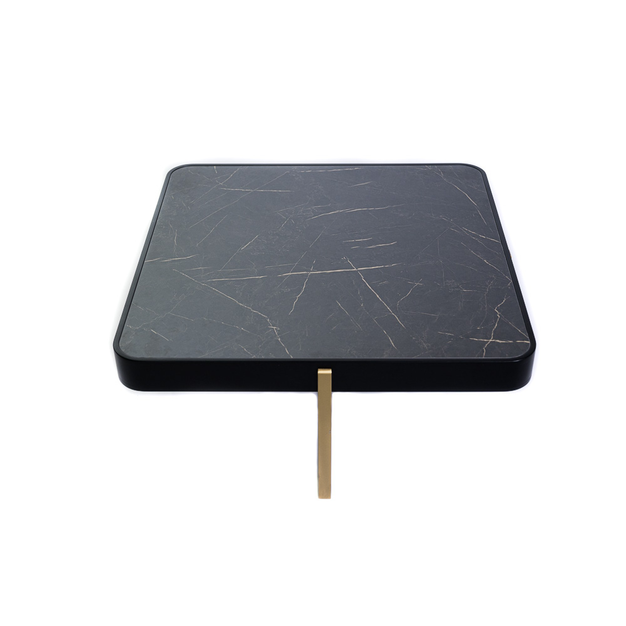 Coffee table, with gold metal structure and MDF countertop with marble effect - DORIAN