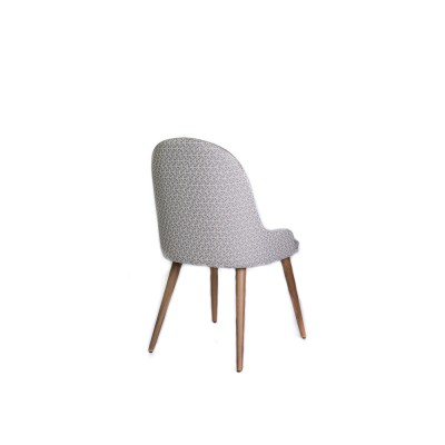 Dining chair with solid wood structure, fully upholstered in light gray velvet and rhombus graphic pattern - OME