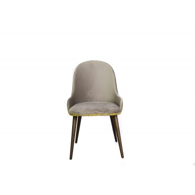 Dining chair with solid wood structure, fully upholstered in beige velvet and yellow graphic pattern - OME