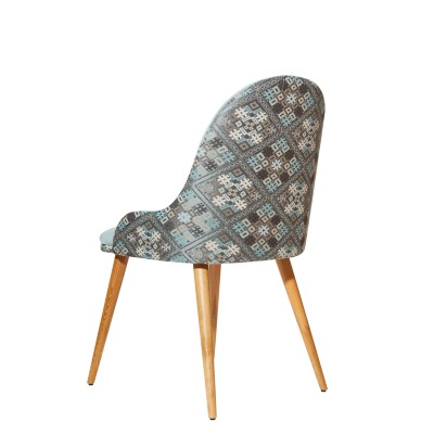 Dining chair with solid wood frame, fully upholstered in velvet and traditional motifs, mint color - OME