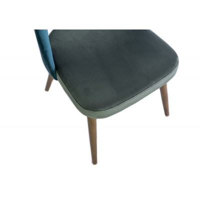 Chair without handles and wooden legs, upholstered in gray velvet and turqoise - BLANCK