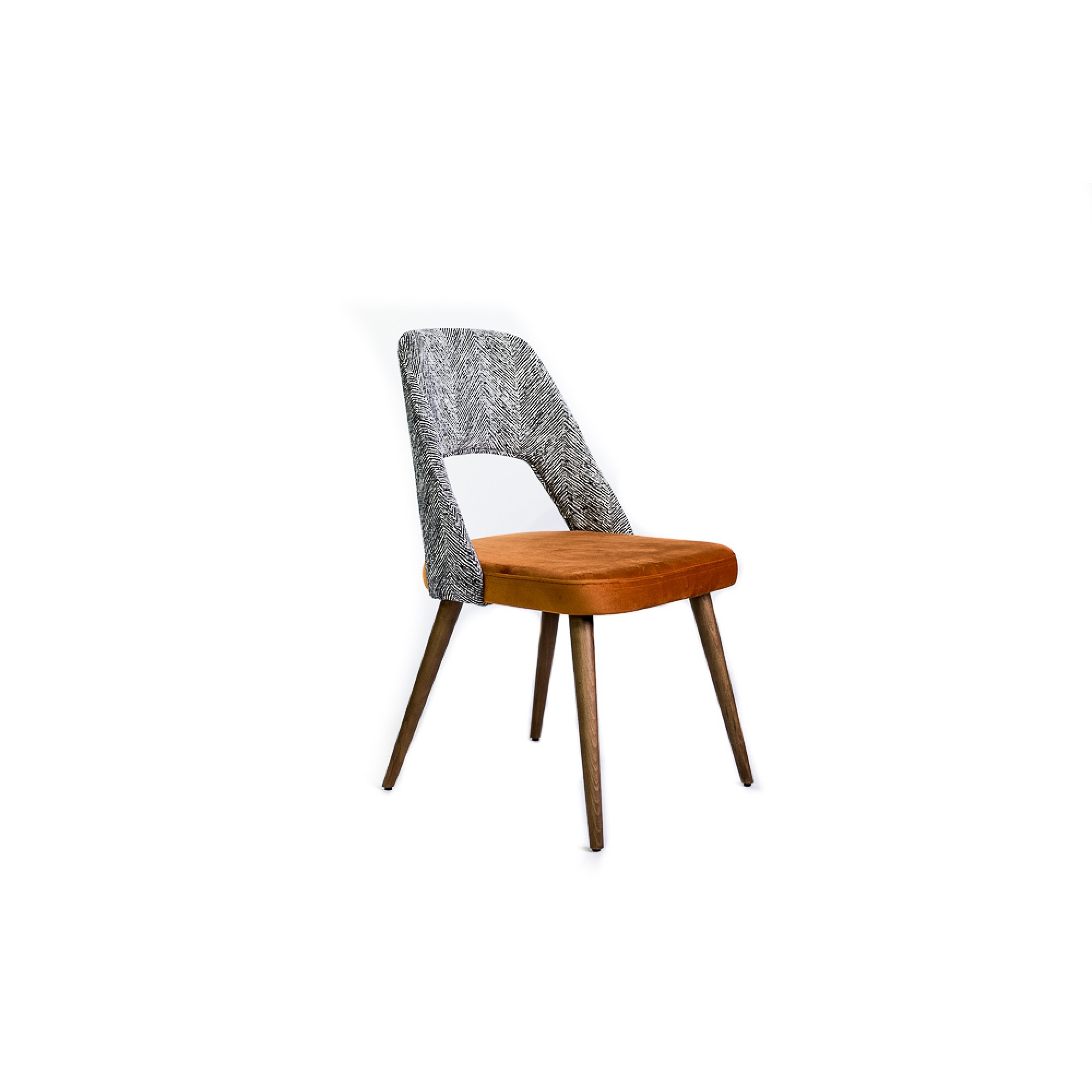 Chair without handles and wooden legs, upholstered in copper velvet and zebra graphics - BLANCK