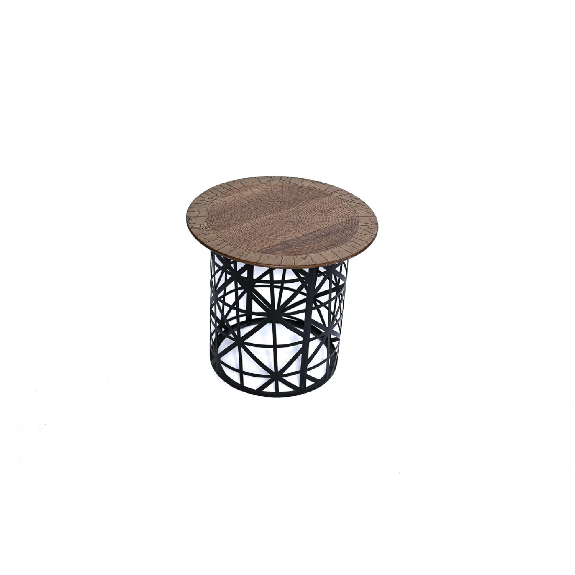Side table with metal structure and wooden countertop - GEOMETRI