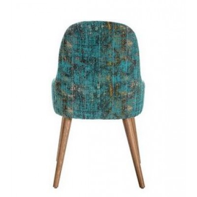 Chair with wooden legs, upholstered in velvet and graphic pattern - LUZI PLUS