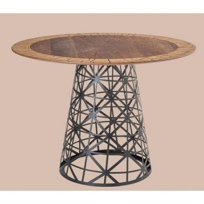 Table with walnut top and metal cone-shaped leg with geometric pattern.
