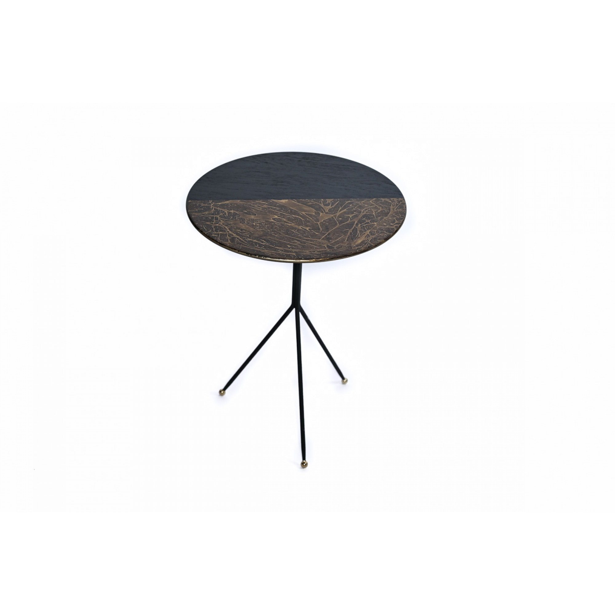 Coffee table with metal frame and top in two colors, S - KELEBEK ZIGON