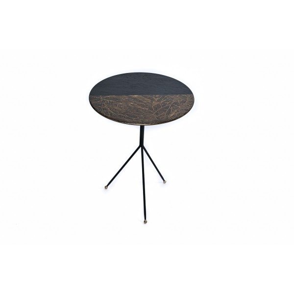 Coffee table with metal frame and top in two colors, L - KELEBEK ZIGON
