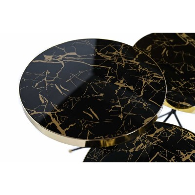 Table with metal structure, marble top and golden tips - L - Zigon