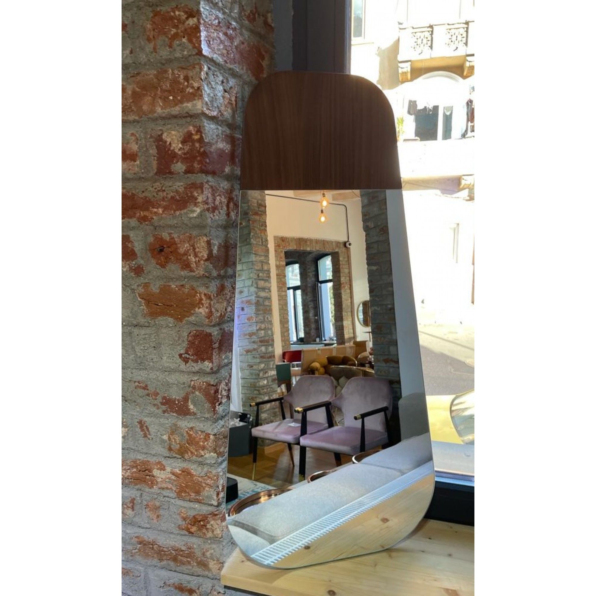 Retro mirror, without frame and with walnut wood insert - ENZA