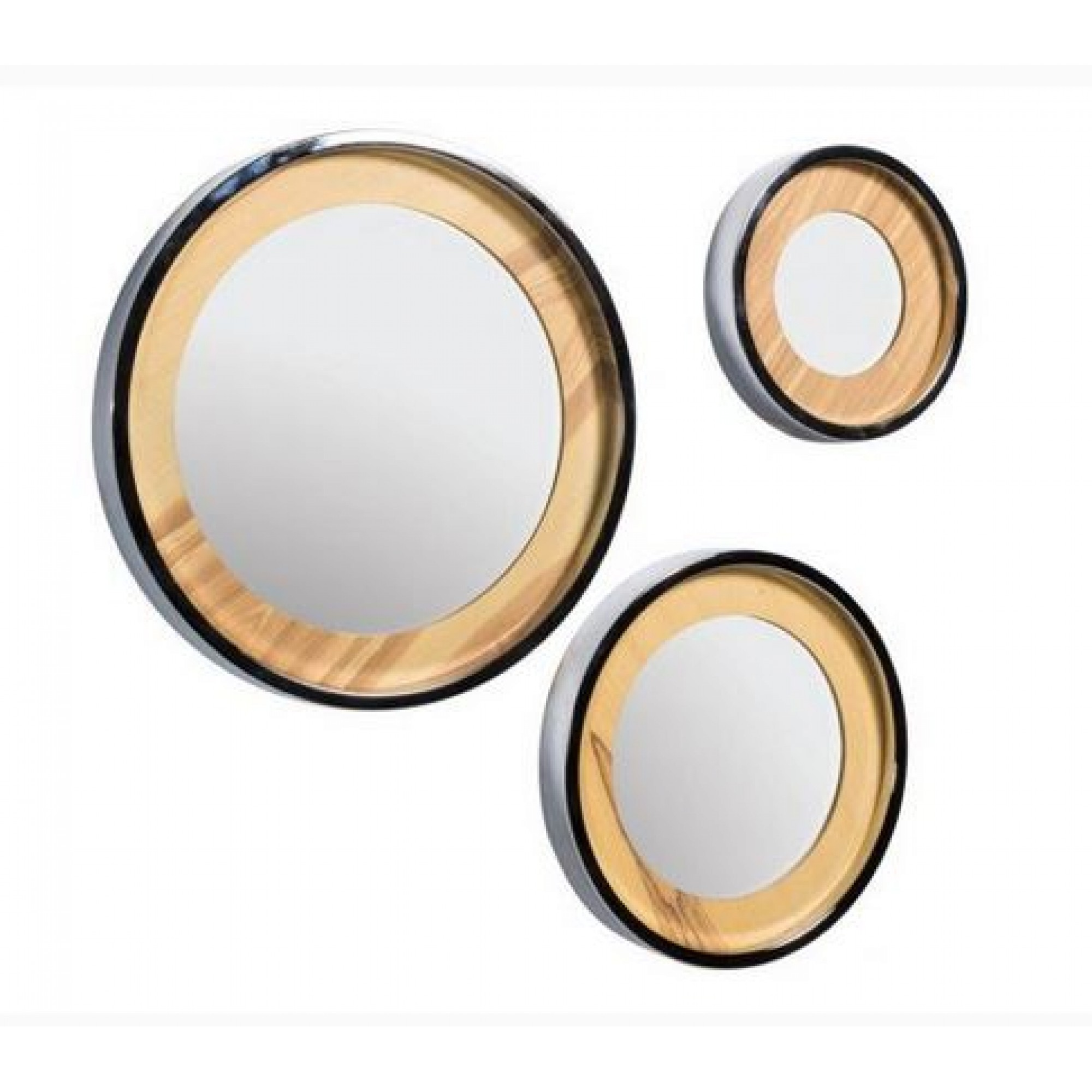 Set of 3 round mirrors with nickel frame - TRIO