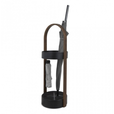Black metal support and walnut handle for umbrella - BELLWOOD