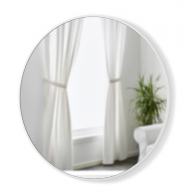 Round wall mirror with white rubber frame - HUB