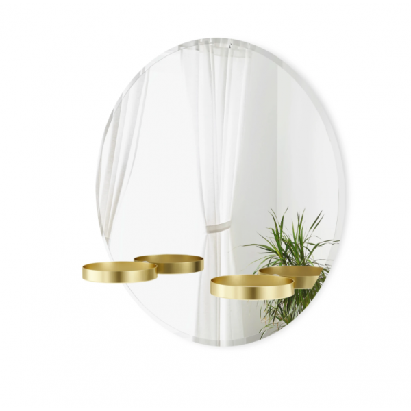 Mirror with beveled edge and two circular brass shelves - PERCH