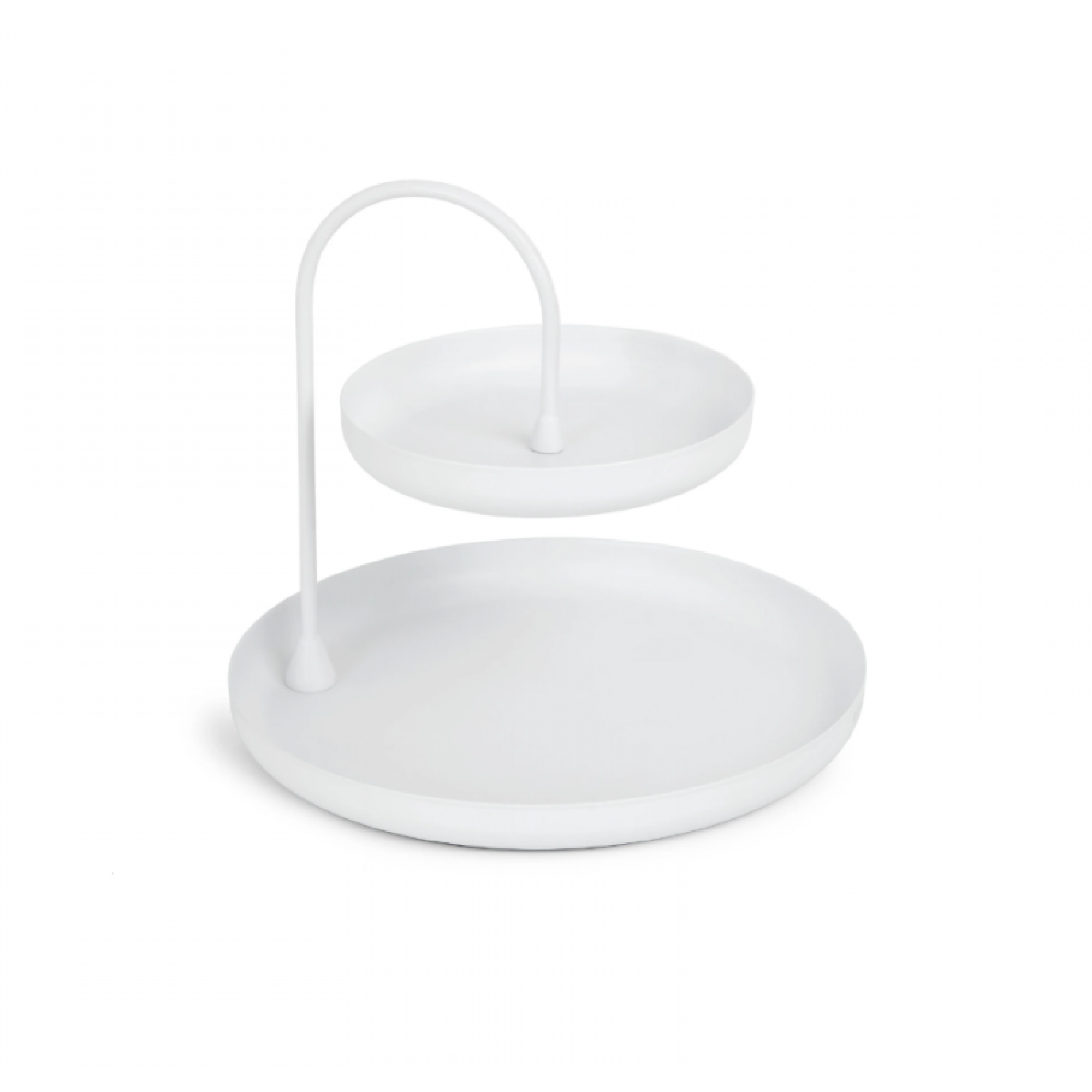 White metal decorative tray on two levels - POISE