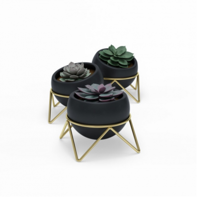 Set of 3 black ceramic pots with metal brass support - POTSY